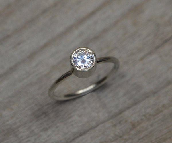 Moissanite Engagement Ring Set In 9ct White Gold, Diamond Alternative Engagement Ring, Made To Order
