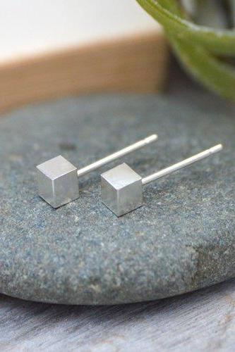 Little Cube Stud Earrings, Simple Earring Studs, Handmade In England