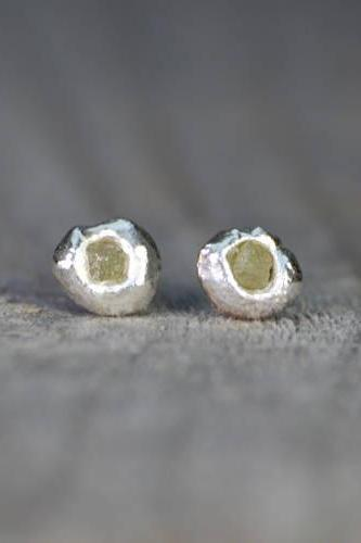 Rough Diamond Earring Studs, Raw Diamond Ear Studs Handmade In England