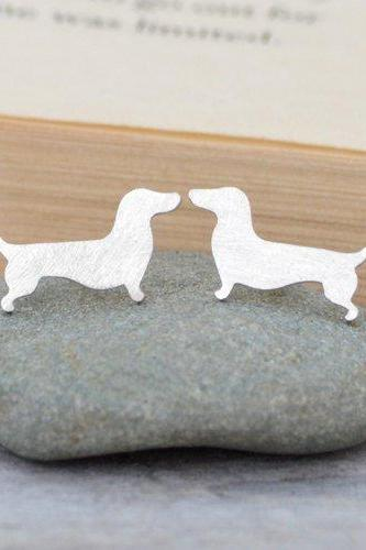 Dachshund Earring Studs In Sterling Silver, Sausage Dog Earring Studs, Doggy Earring Studs, Handmade In The UK