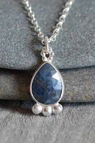 Rose Cut Sapphire Necklace, Something Blue Wedding Gift, September Birthstone, 3.05ct Sapphire Necklace
