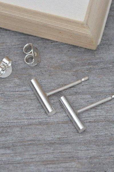 Simple Bar Earring Studs In Sterling Silver, Stick Earring Studs Handmade In England