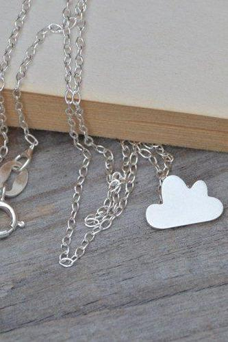 Fluffy Cloud Necklace In Sterling Silver, Small Cloud Necklace, Weather Forecast Necklace, Handmade In England
