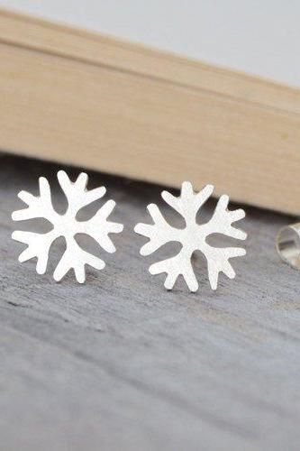 Snowflake Earring Studs, Winter Earrings, Weather Forecast Earring Studs Handmade In Sterling Silver