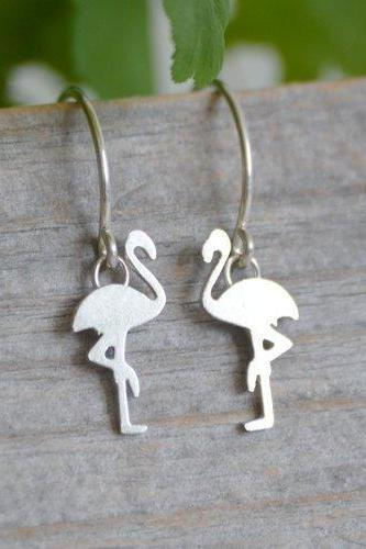 Flamingo Earrings In Sterling Silver, Handmade In The UK