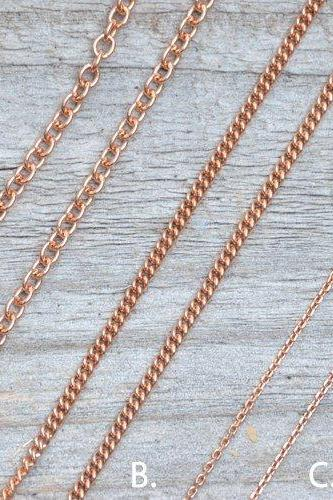 Solid 9ct Rose Gold Chain, Curb Chain, Belcher Chain, And Trace Chain, 16', 18', And 20', Made In England
