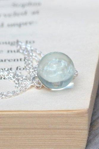 Glass Ball And Sterling Silver Necklace