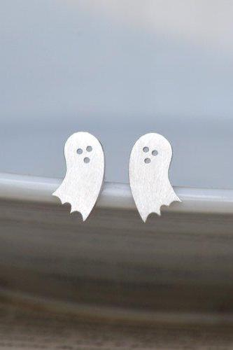 Little Ghost Earring Studs In Sterling Silver, Halloween Earring Studs, Handmade In England