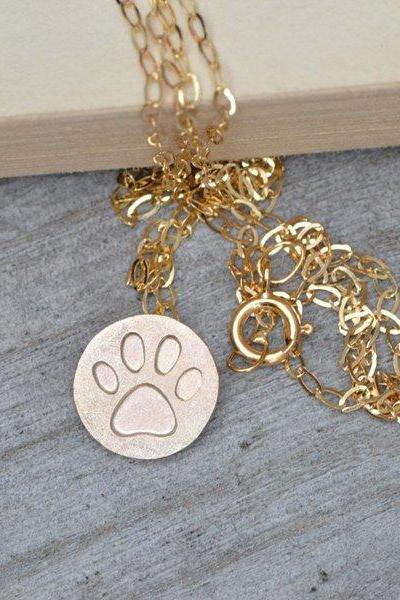 Pawprint Necklace In Solid 9ct Yellow Gold And 9ct Rose Gold