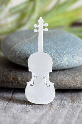 Violin Brooch In Sterling Siver, Handmade In The UK
