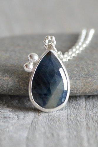 Rose Cut Sapphire Necklace, 6.8ct Sapphire Necklace, Something Blue Wedding Gift