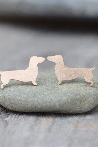 Dachshund Earring Studs In Gold, Sausage Dog Earring Studs, Doggy Earring Studs, Handmade In The UK