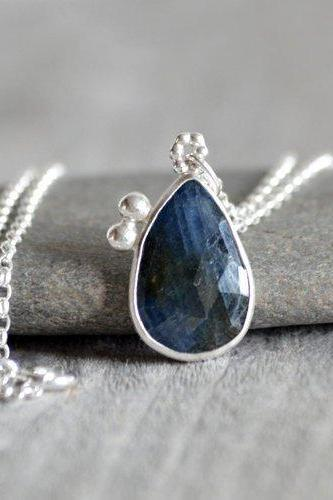 Rose Cut Sapphire Necklace, September Birthstone, Blue Wedding Gift Necklace, Sapphire Gift, Bridal Necklace, 7.25ct Sapphire necklace