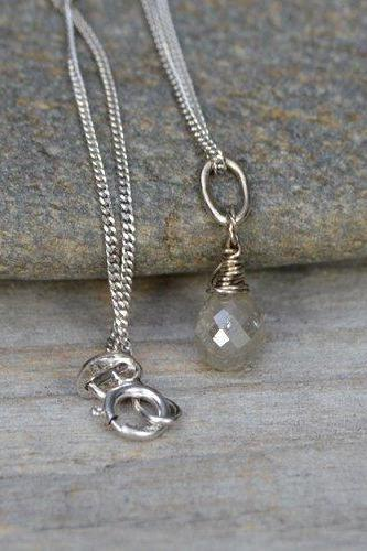Raindrop Diamond Necklace with 18ct white gold, April Birthstone, Diamond Wedding Gift Handmade In The UK