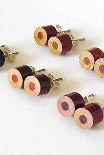 Color Pencil Earring Studs, The Brown Series Pencil Jewelry Handmade In England By Huiyi Tan