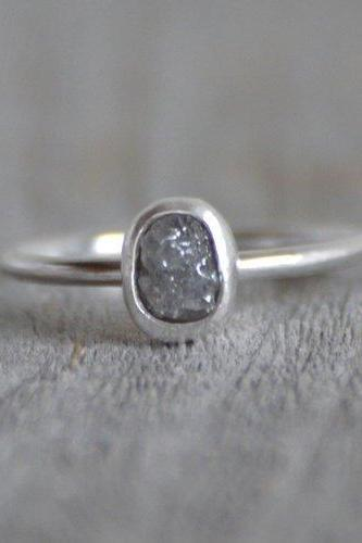 Raw Diamond Engagement Ring, 0.95ct Grey Diamond Ring in Organic Shape, Handmade In England