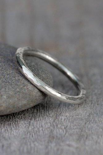 Hammered Effect Wedding Band, 2mm Diameter Rustic Wedding Ring