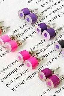 Color Pencil Ear Studs, The Purple And Pink Series Pencil Jewelry, Handmade In England By Huiyi Tan