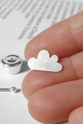 Fluffy Cloud Tie Tack From The Weather Forecast Collection In Sterling Silver, Handmade In England