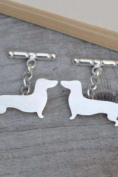 Dachshund Cufflinks In Sterling Silver, Sausage Dog Cufflinks With Personalized Message On The Backs, Handmade In The UK
