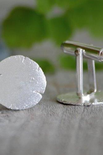 Rustic Cufflinks With Textured Surface, Organic Shaped Cufflinks In Recycled Sterling Silver