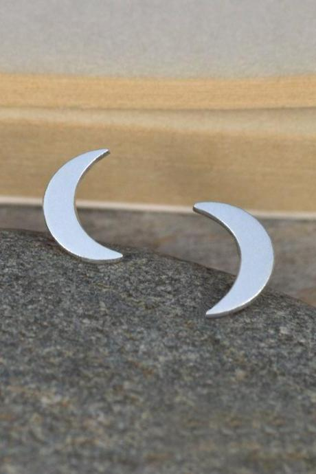 Crescent Moon Earring Studs In Sterling Silver, Weather Forecast Earring Studs Handmade In England