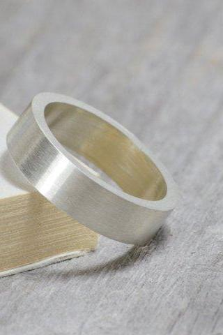 Flat Wedding Ring Wedding Band In 9k White Gold With Personalized Message Inside, 5mm Wide