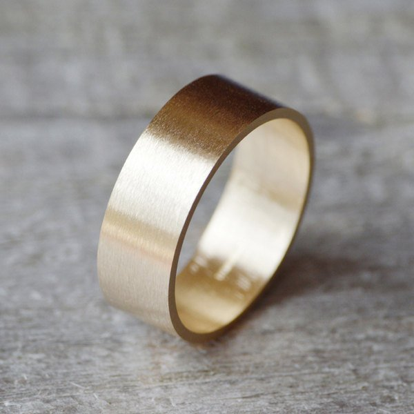 Flat Wedding Ring Wedding Band In 9ct Yellow Gold 8mm Wide Satin Finish, Men's Wedding Band